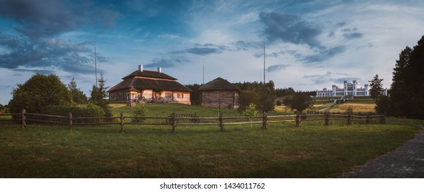Panoramic view of Houses on sunset landscape - village of birthplace of Tadeusz Kosciuszko - Kossovo, Brest region, Belarus.