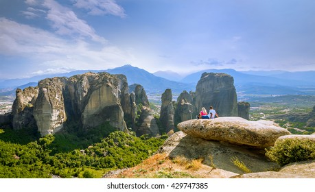 Panoramic view of huge rocks group in Meteora, Greece