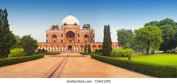 Panoramic view of Humayun's Tomb. Delhi, India