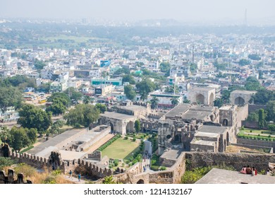The panoramic view to Hyderabad city from Ancient Golconda Fort. Best destination in IncredibIe India.