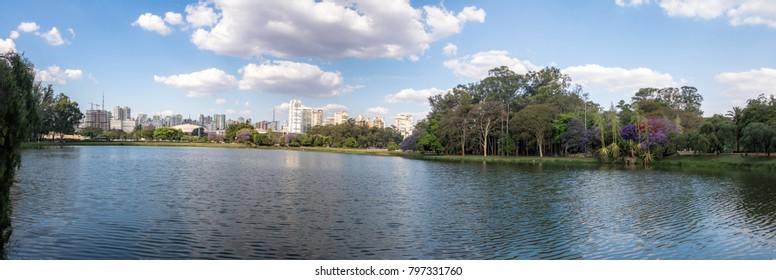Panoramic view of Ibirapuera Park Lake - Sao Paulo, Brazil