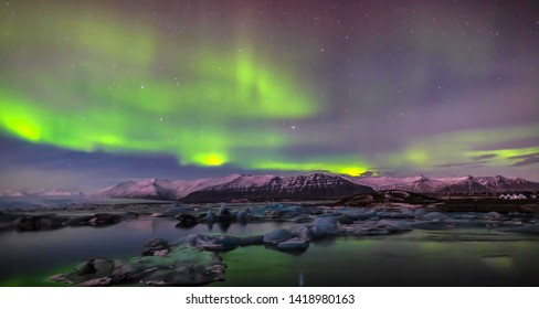 Panoramic view of Icelandic landscape and mountains in Iceland.