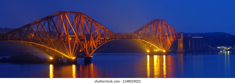 Panoramic view of the iconic Forth Bridge near Edinburgh. Scotland, UK