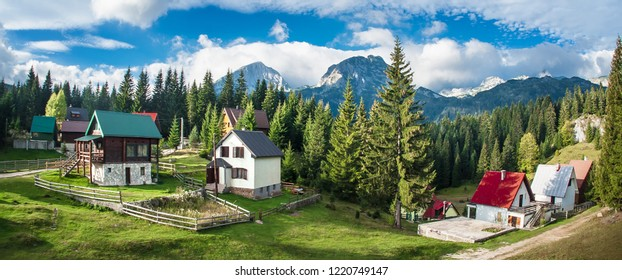 Panoramic view of idyllic mountain scenery with traditional chalets. Žabljak, Durmitor, Montenegro