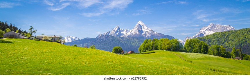 Panoramic view of idyllic mountain scenery in the Alps with fresh green meadows in bloom on a beautiful sunny day in springtime, National Park Berchtesgadener Land, Bavaria, Germany