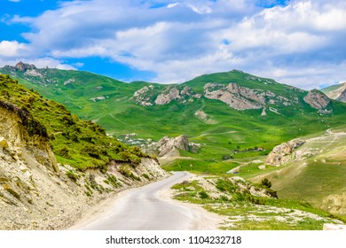 Panoramic view of idyllic summer landscape with the famous mountain villages near Quba, Azerbaijan