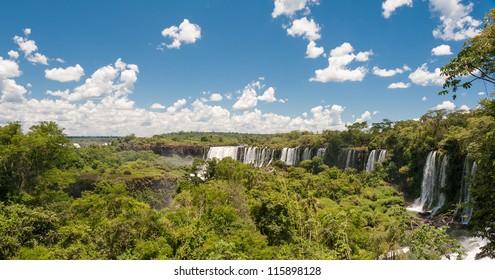 Panoramic view of Iguazu falls, Argentina