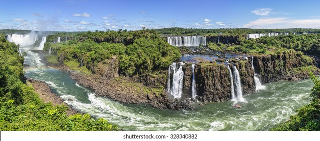 Panoramic view at Iguazu Falls, one of the New Seven Wonders of Nature, Brazil