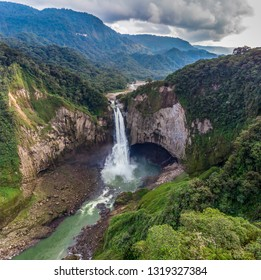 Panoramic view of the impressive San Rafael waterfall 160 m high, on the Quijos river, surrounded by rainforest