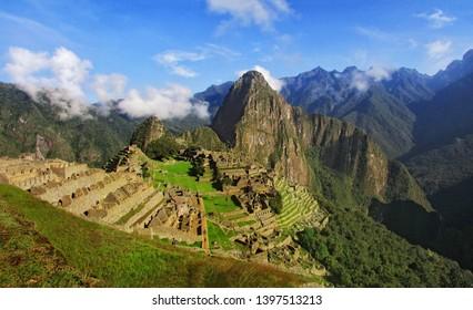 Panoramic view of the Inca citadel of Machu Picchu. Cusco Peru.