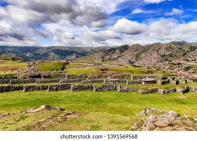 Panoramic view at the Incan ruins of Sacsayhuaman in Cusco, Peru.