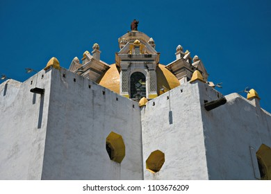 Panoramic view of the indigenous Baroque church Parroquia de Santiago Apóstol in Chignahuapan, Puebla Mexico.