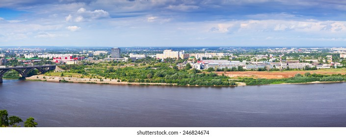 panoramic view of  industry district at Nizhny Novgorod in summer. Russia