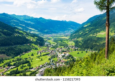 Panoramic view into Gasteintal from Bad Gastein set in the alpine mountains in the Summer of 2016