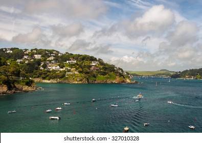 Panoramic view into the Kingsbridge Estuary near Salcombe, Devon, United Kingdom
