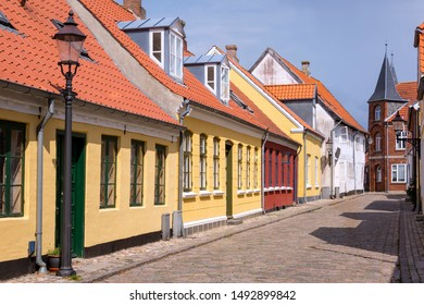 Panoramic view into the small lanes of the idyllic town Ribe in the south of Denmark.