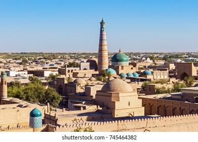 Panoramic view of Islam Khoja Minaret and mosque in Itchan Kala, the inner town of the city of Khiva - Uzbekistan