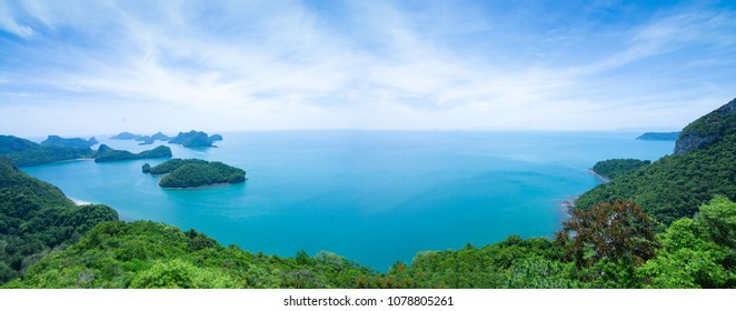 Panoramic view of island nature, forest mountain. Mu Koh Angthong Nationnal Park, Koh Samui Thailand