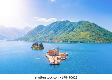 Panoramic view of the islands with a church and a monastery in the sea