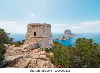Panoramic view of the islets of Esvedra and Es Vedranell, from the tower des Savinar and its cliff, located in the natural park of Cala D'hort, in Ibiza, Spain