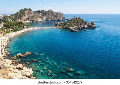 Panoramic view of Isola Bella, Taormina, Sicily