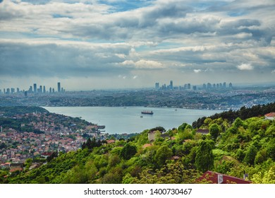 Panoramic view of Istanbul and Bosphorus from Beykoz district and European side of Istanbul on background