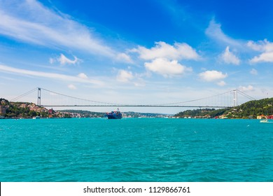 Panoramic view of Istanbul. Panorama cityscape of famous tourist destination Bosphorus strait channel. Travel landscape Bosporus, Turkey, Europe and Asia.
