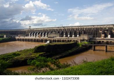 Panoramic view of the Itaipu hydroelectric dam in Foz do Iguaçu, Paraná, Brazil, 2016.