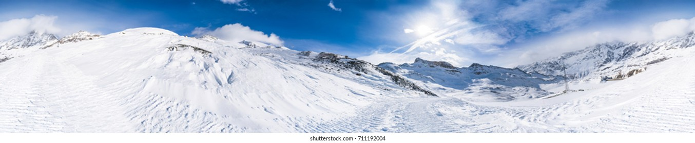 Panoramic view of Italian Alps in the winter seen from Plan Maison in Cervinio ski resort, Italy
