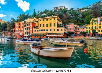 Panoramic view of italian city Portofino in Liguria, Italy