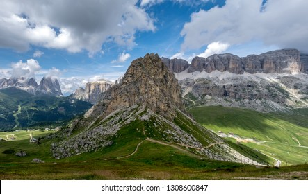 Panoramic view of the Italian Dolomites as seen from mountain Refuge Sass Becè