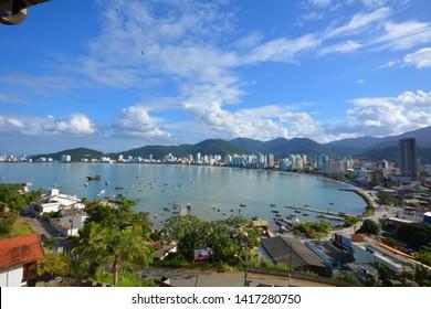 panoramic view of Itapema inlet, beachfront in santa catarina, view of Itapema beach in Santa Catarina
