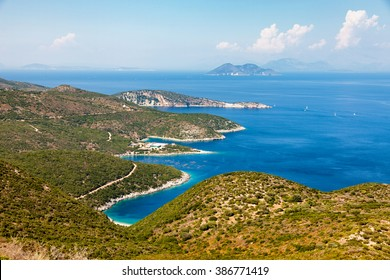 panoramic view of Ithaca island in Greece