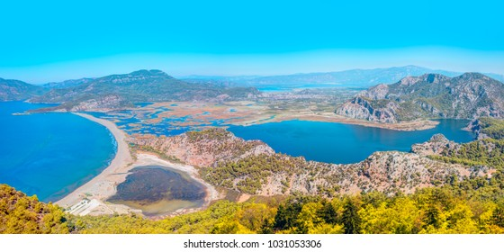 Panoramic view of iztuzu beach in Dalyan, Turkey