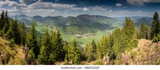 Panoramic View of Jachenau Valley, Bavaria, Germany