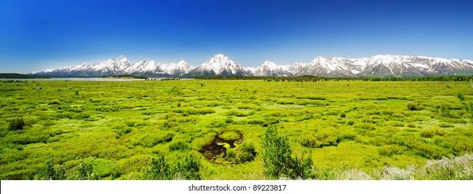 The panoramic view from Jackson Lake resort