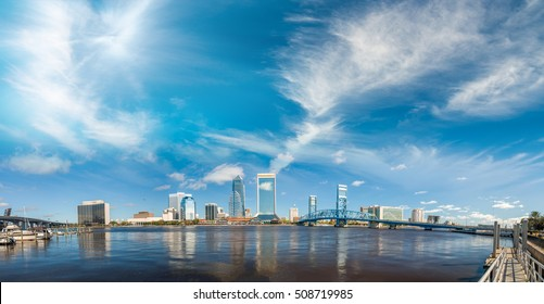 Panoramic view of Jacksonville skyline at dusk, Florida - USA.