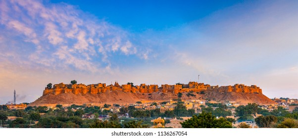 Panoramic view of Jaisalmer Fort at dawn, Rajasthan, India. A UNESCO World Heritage site.