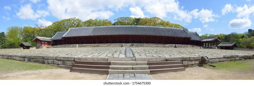 Panoramic view of Jeongjeon(main building) at Jongmyo(Royal Ancestral Shrine) near Jongno-gu, Seoul, South Korea