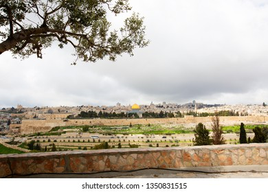 Panoramic view to Jerusalem old city from the Mount of Olives, Israel