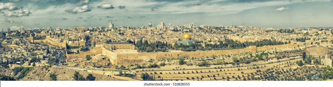 Panoramic view to Jerusalem Old city and the Temple Mount, Dome of the Rock and Al Aqsa Mosque from the Mount of Olives in Jerusalem, Israel - Retro Style