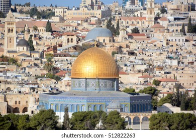 Panoramic view to Jerusalem Old city and the Temple Mount, Dome of the Rock and Al Aqsa Mosque from the Mount of Olives in Jerusalem, Israel,