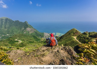 Panoramic View of Jiufen, JinGuaShih, Keelung Mountain and Yinyang Sea from the Peak of Teapot Mountain, Ruifang District, New Taipei City, Taiwan