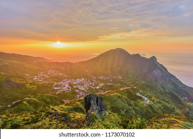 Panoramic View of Jiufen, JinGuaShih, Keelung Mountain and Yinyang Sea from the Peak of Teapot Mountain At Sunset , Ruifang District, New Taipei City, Taiwan