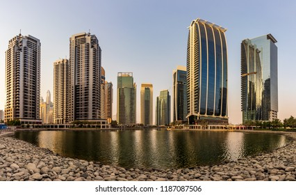 Panoramic View of the JLT Area. Dubai - UAE. 20 July 2018