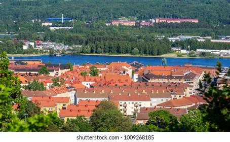 Panoramic view of Jonkoping rooftops. Smaland, Sweden, Scandinavia