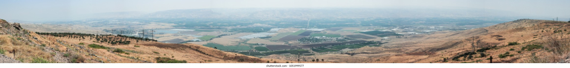 Panoramic view of the Jordan Valley from the walls of the Belvoir fortress - Jordan Star - in the Jordan Star National Park near Afula town in Israel