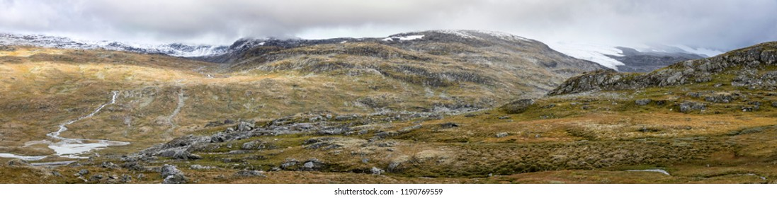 Panoramic view to the Jotunheimen National Park, Norway. Jotunheimen is very popular with hikers and climbers