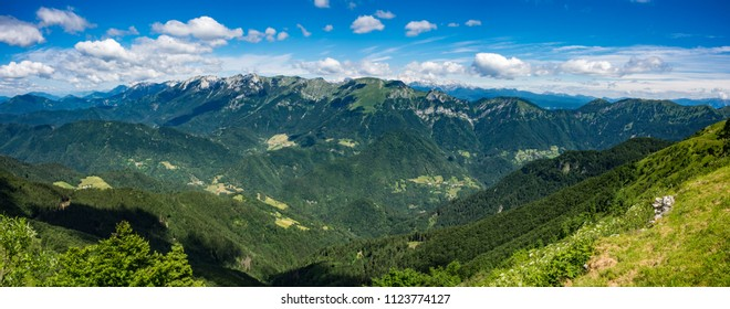 Panoramic view of the Julian Alps from the top of the Porezen mountain