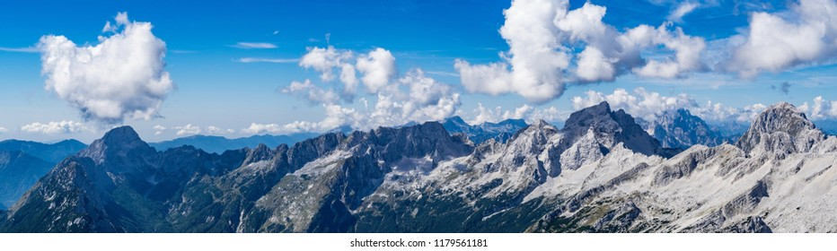 Panoramic view of the Julian Alps from the top of the Prisojnik mountain